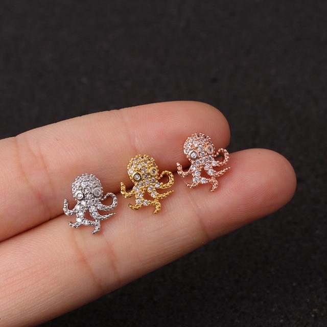 1 PCS New CZ Zircon Snake Owl Skull Ear Stud Cuff Earring for Women Trendy Stainless.jpg 640x640 - 1 PCS New CZ Zircon Snake Owl Skull Ear Stud Cuff Earring for Women Trendy Stainless Steel Bar Ball Screw Earrings Ear Jewelry