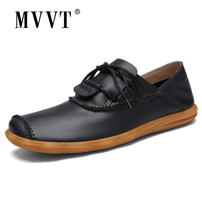 MVVT Quality Men Shoes Leisure Split Leather Shoes Men Loafers Super Soft Men Flats Casual Shoes
