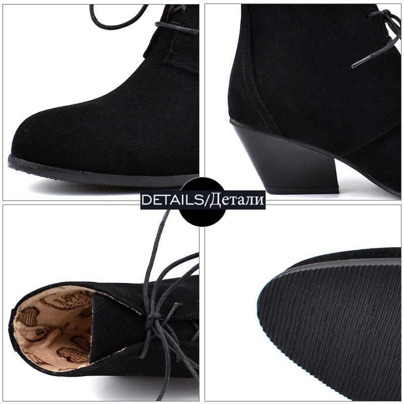 WETKISS Batı Çizmeler Kadın Yüksek Topuklu Küba Ayak Bileği Patik Kadın Yuvarlak Ayak Ayakkabı Bayanlar Lace Up Nötr Ayakkabı Kış Büyük boyutu 48