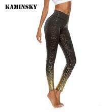 Kaminsky yeni spor giyim tayt kadınlar yüksek bel Leginsy pullu külot seksi pantolon vücut geliştirme rahat Jeggings