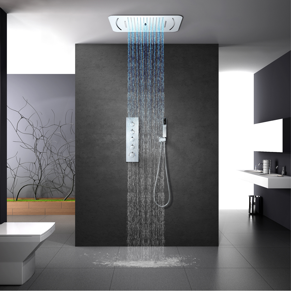 LED Light Shower Head Waterfall Rainfall Shower Bathroom Thermostatic Shower Faucets Mixer Massage 304 SUS Showers Ceiling Mount in Shower Faucets from Home Improvement
