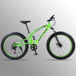 Wolf's fang bicicleta de montaña 7/21 velocidad 26*4,0 bicicletas gruesas bicicleta de carretera bmx frenos de disco doble bicicletas bicicleta de nieve envío gratis