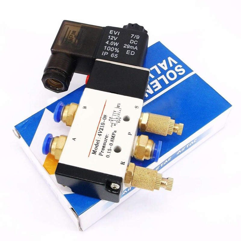 4V210 08 DC 12V Solenoid Pneumatic Valve 5 Port 2 Position Connector Silencer Small Practical Repair Tool in Tool Parts from Tools