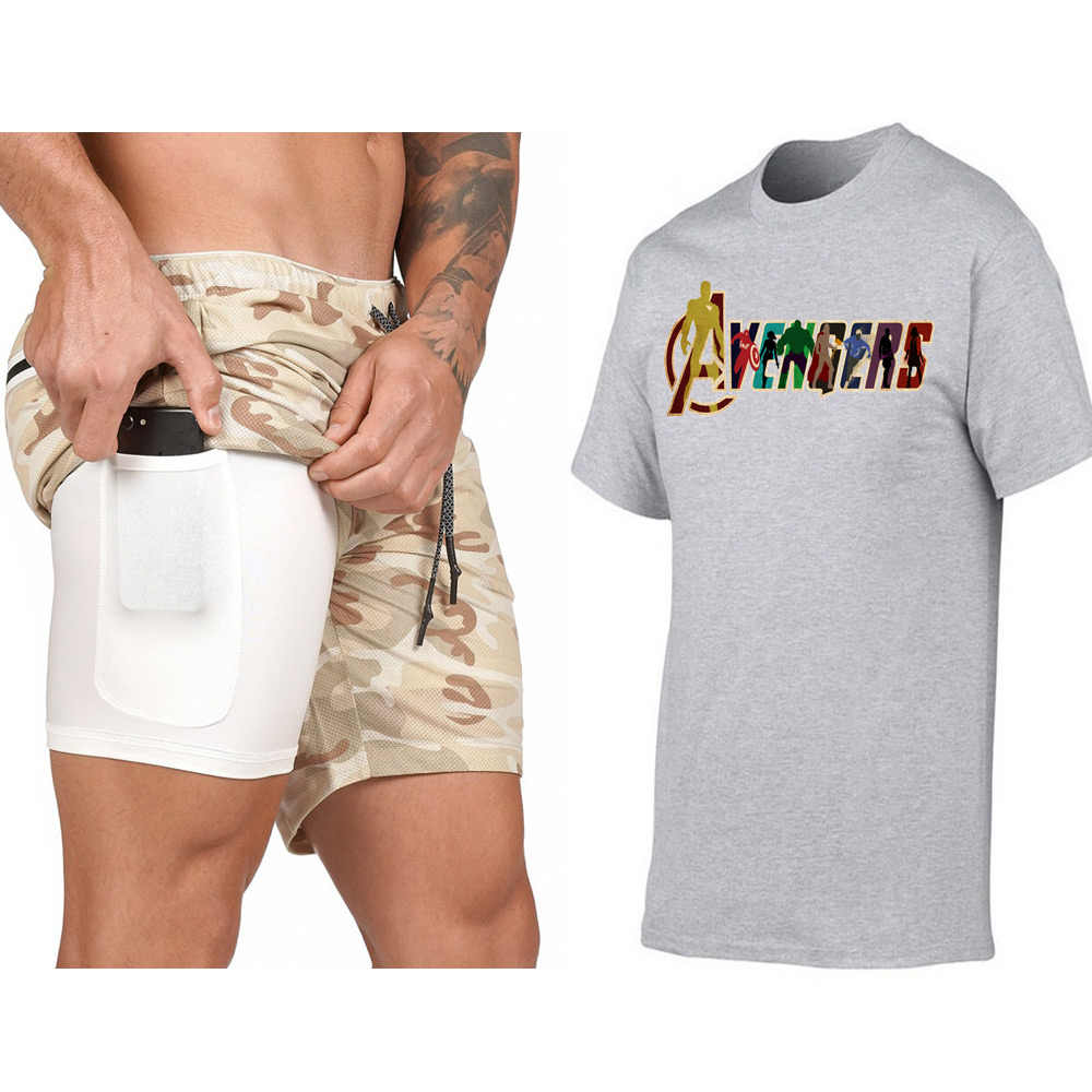 Мужские трендовые шорты со скрытым карманом + футболка, комплект для тренировок, шорты для фитнеса, топ, футболка, комплект