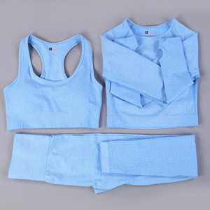 2021 neue Frauen Yoga Sets 2/3/5PCS Nahtlose Langarm Crop Top Hohe Taille Gym Fitness leggings Workout Sportswear Sport Anzug
