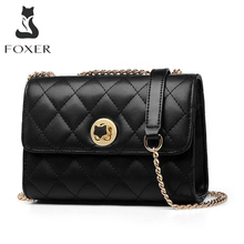 FOXER Women Cow Leather Shoulder Bag Fashion Lady Casual Cross-body Bag Brand Classical Small Messenger Flip Bag for Girls