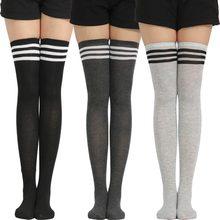 Chaussettes rayées pour femmes, cadeaux de noël amusants, bas longs en Nylon, cuisses hautes, Sexy, vêtements mignons au-dessus du genou, offre spéciale