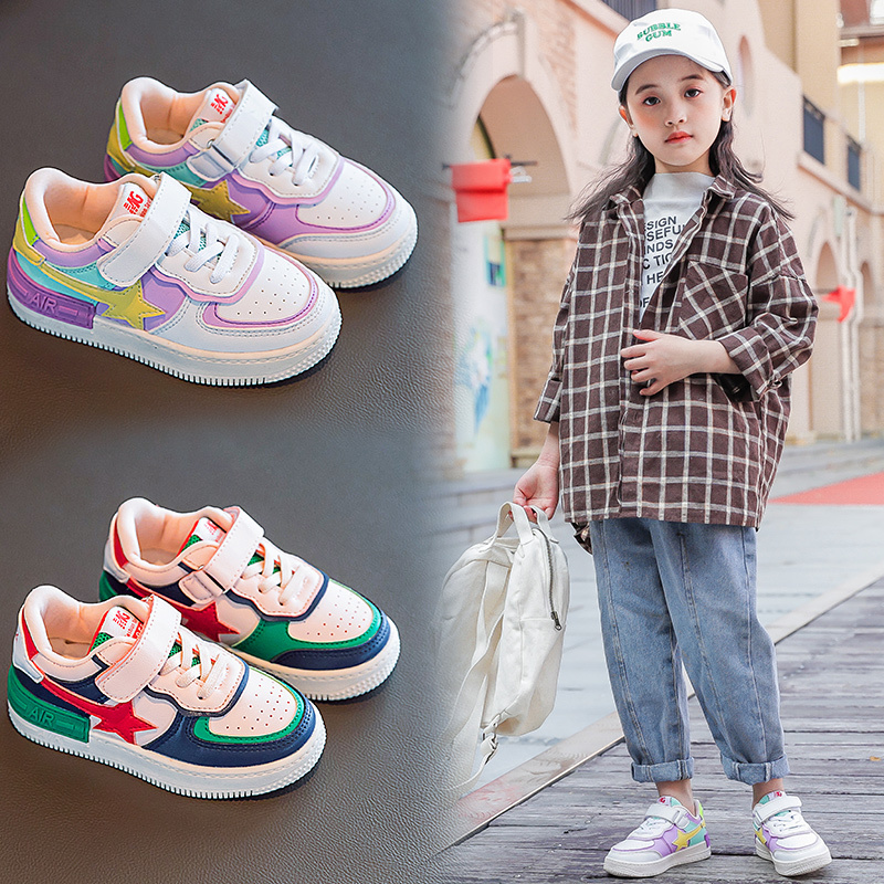 Girls Sneakers 2020 New Spring Fashion Shoes Kids Wild Sport Pu Leather Mesh Non-slip Sneakers Children Casual Shoe Girl