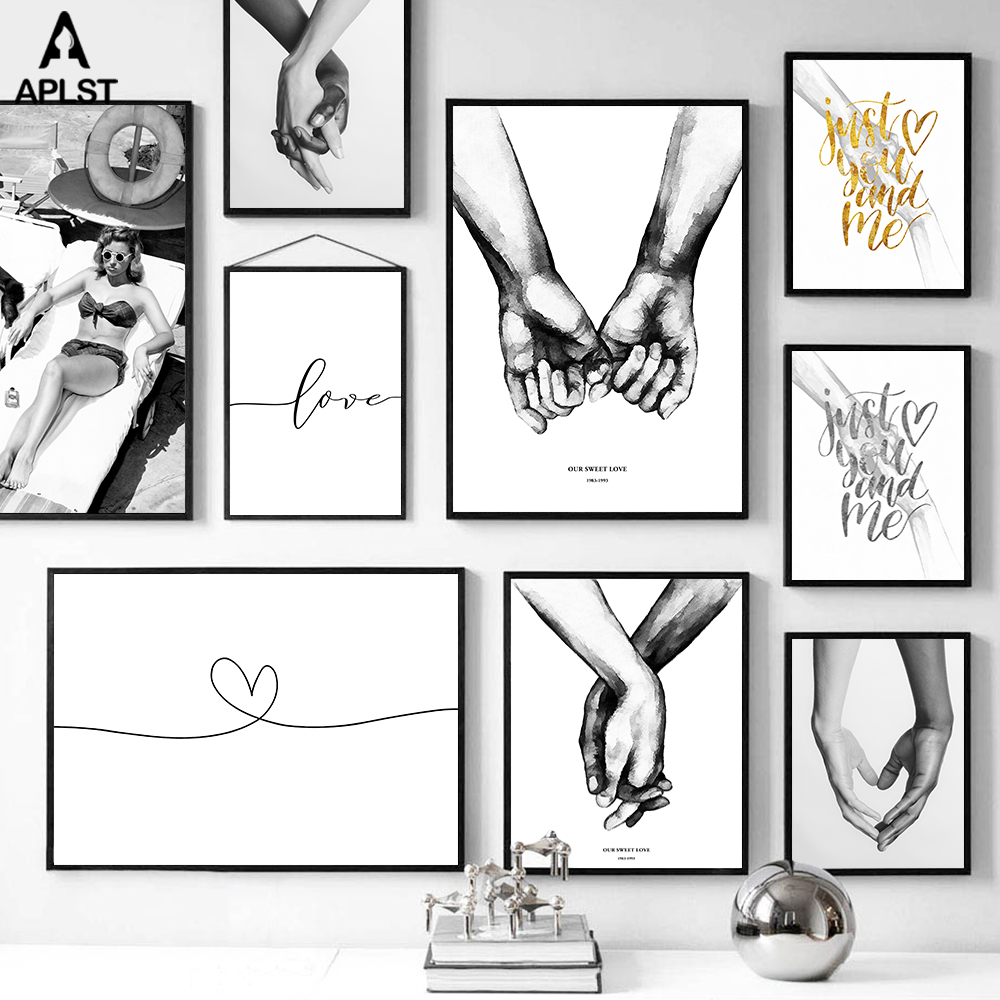 Abstract Line Love Heart Poster Holding Hands Canvas Prints Black and White Bikini Woman Picture Nordic Wall Art Decoration