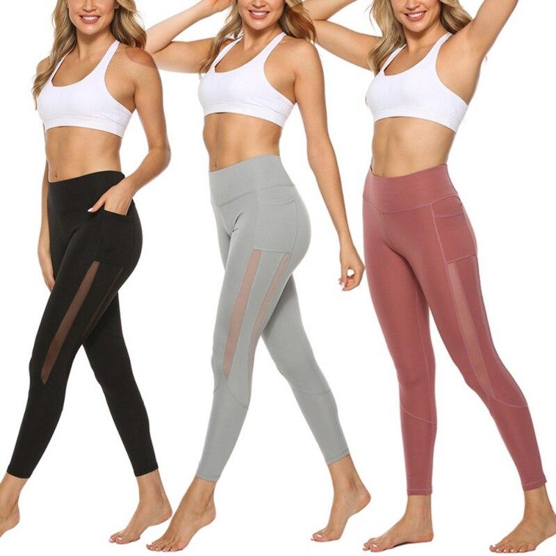 Sexy Slim Fitness Leggings Push Up Ladies High Waist Pocket Workout PantsRunning Mesh Seamless Legging Long Pants