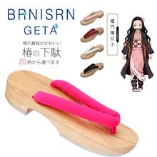 악마 슬레이어 Kimetsu No Yaiba 코스프레 의상 신발 Hashibira Kanroji Mitsuri Kochou Shinobu Tomioka Giyuu Japan Clog Free Sock