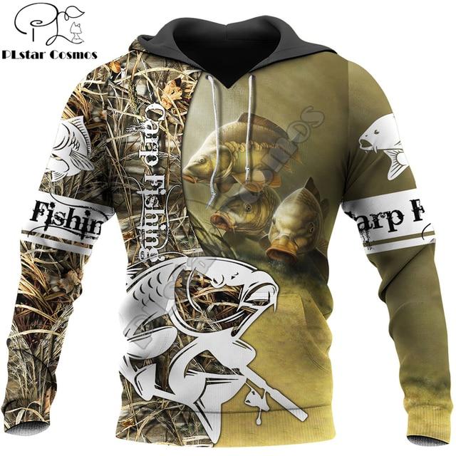 Carp fishing hoodie with camo