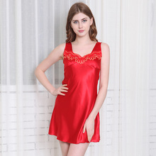 Summer Rayon Womens Nightgown Sleepwear Embroidery  Sleeveless Solid Above Knee, Mini Lingerie Plus Size Leisure Tracksuit