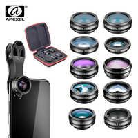 APEXEL 10 in 1 telefon kamera Lens kiti balıkgözü geniş açı makro Lens CPL filtre kaleydoskop ve 2X teleskop lensi smartphone için