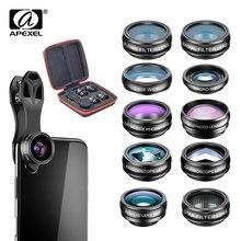 """APEXEL 10 w 1 zestaw obiektywów aparatu telefonicznego """"rybie oko"""" szerokie kąt obiektyw makro filtr cpl kalejdoskop i 2X soczewki teleskopu do smartfona"""