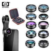 Apexel kit de lentes 10 em 1 para telefones, lentes para câmera de tipo olho de peixe, ângulo aberto, macro, cpl, caleidoscópio e 2x lentes telescópicas para smartphone