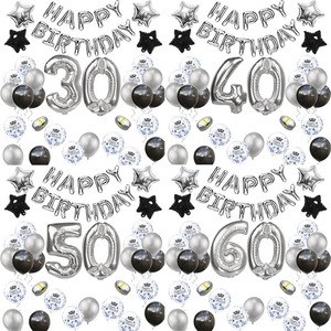 18 21 30 40 50 60 Years Birthday Party Decor Adult Numbers Balloons Silver Party Confetti Baloon 50th 60th Birthday Supplies XN