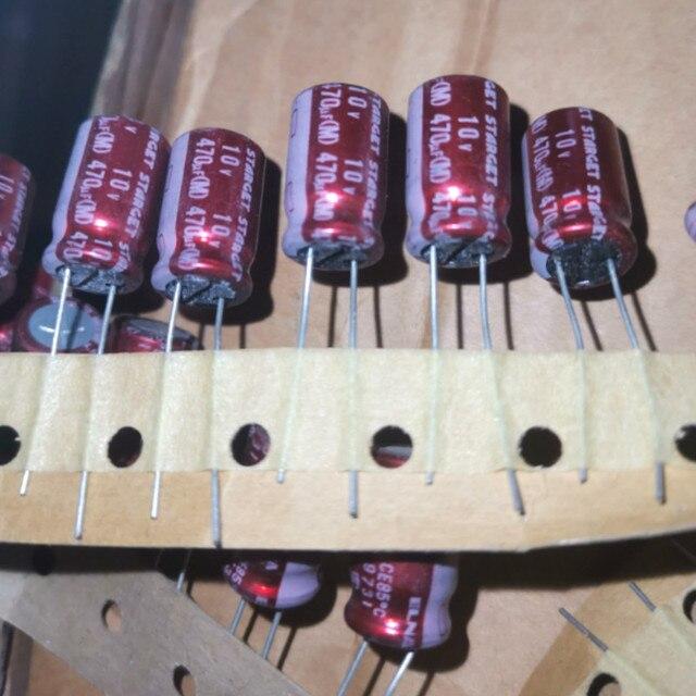 10 قطعة ELNA STARGET 10V470UF 10X16 مللي متر قضيب 470 فائق التوهج 10V الأحمر رداء 470 فائق التوهج/10 V تصفية الصوت مُكثَّف كهربائيًا 10V 470 فائق التوهج