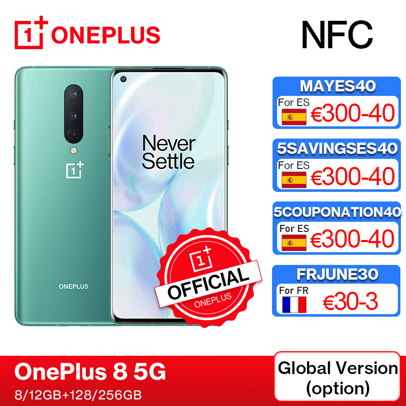 Глобальная версия OnePlus 8 5G смартфон 8 ГБ 128 Snapdragon 865 6,55 ''90 Гц жидкости Дисплей 48MP тройной OnePlus официального магазина Carter's NFC, код