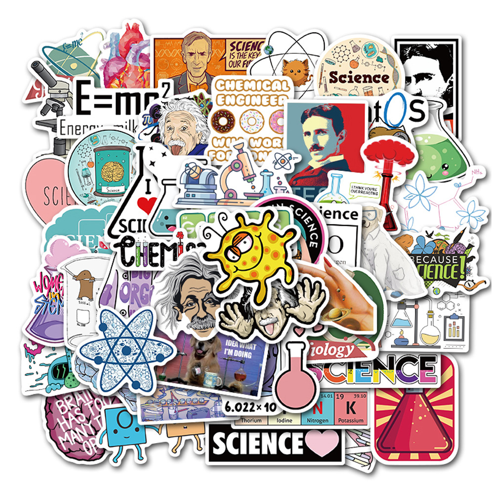 25Pcs Science Lab Chemistry Stickers Scientists Funny Sticker To DIY Laptop Notebook Suitcase Motorcycle Car Decals Toy For Kids