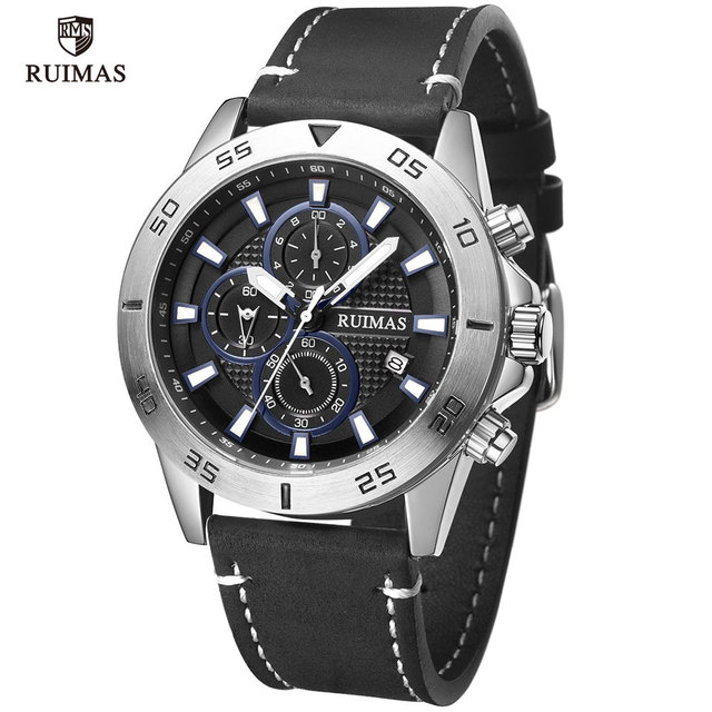 RUIMAS Casual Watches Men Luxury Black Leather 572