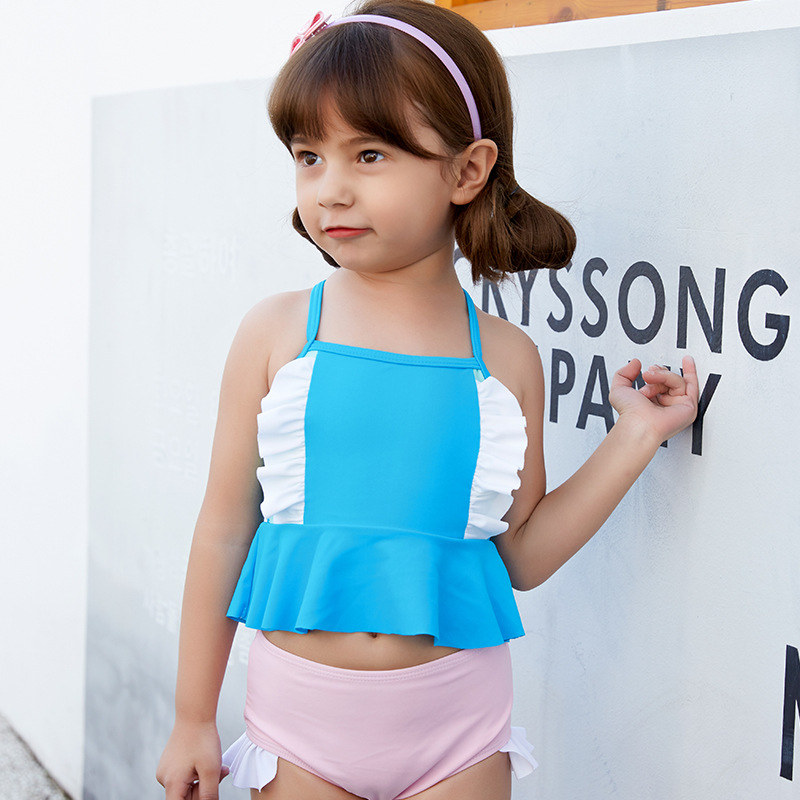 2019 New Style Hot Sales CHILDREN'S Swimwear Split Camisole Triangular Flounced Contrast Color Small Qing Xin Wen Quan GIRL'S Sw