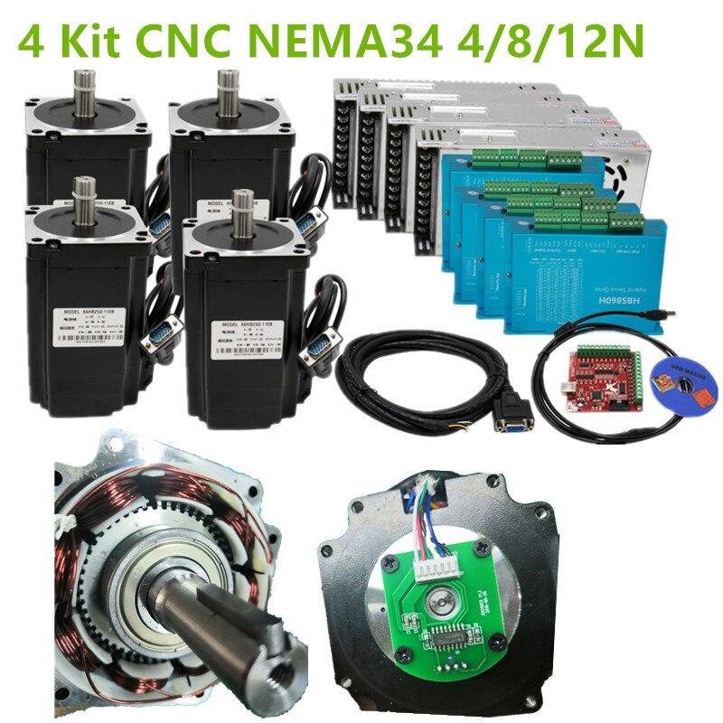 4 Kit CNC NEMA34 moteur en boucle fermée 86HSE 4N/8N/12N 6A hybride nema 34 HBS860H & 400W alimentation cc + carte d'interface MACH3