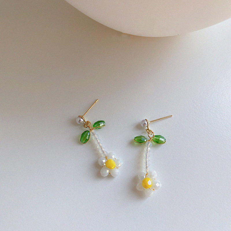 2021 Korean New Handmade Crystal Beads Flower Drop Earrings For Women Students Fashion Holiday Brincos Summer Jewelry