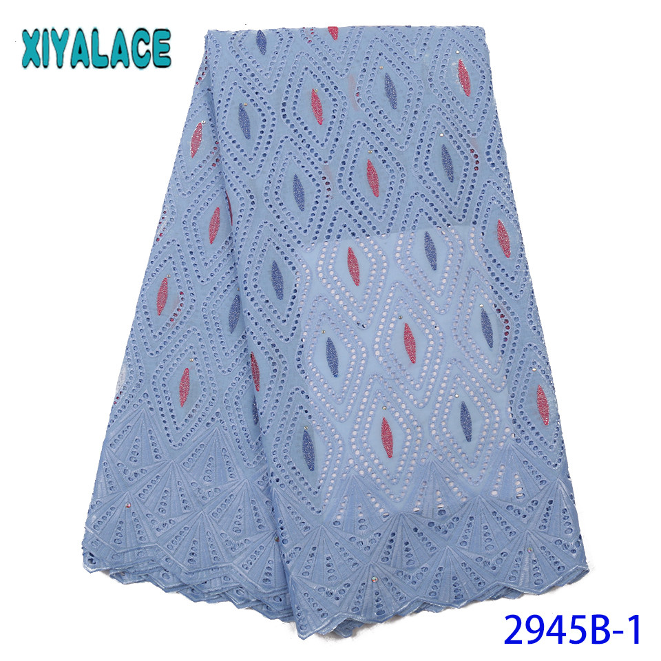 Latest Swiss Voile Lace,High Quality Nigeria Lace Fabric,Dry Lace Fabrics 2019 Cotton Lace Fabric For Women KS2945B-1