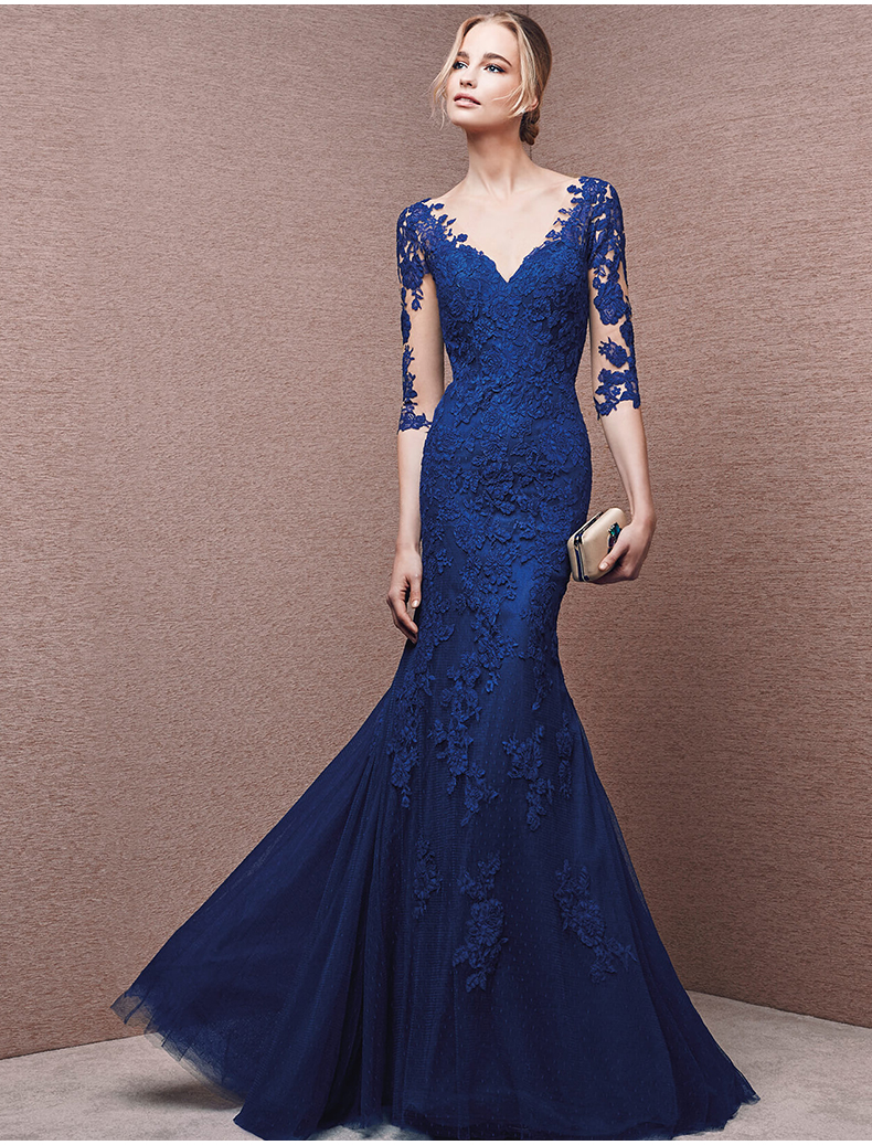 2016 New Sexy See Through Back Button Vestidos Royal Blue Lace Appliques Mermaid Evening Dress Half Sleeve Formal Prom Dresses