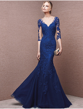 2016 new sexy see through back button vestidos royal blue lace appliques mermaid evening dress half sleeve Formal prom dresses button through calico dress