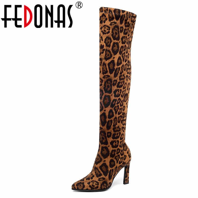 FEDONAS Sonbahar Kış Sıcak Seksi Hayvan Baskılar Suni Deri Kadın yarım çizmeler Fermuar Yüksek Ayakkabı Kadın Parti kısa çizmeler