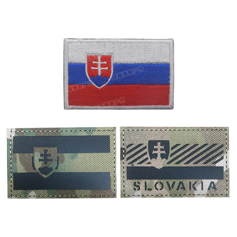 Slovakia Flag Infrared Reflective Ir Patches Army Military Tactical Armband Emblem Sticker Slovak Republic Badges Delicious In Taste