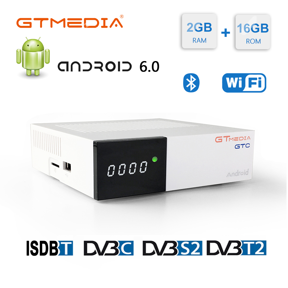 Gtmedia gtc fta receptor de satélite dvb s2 biss vu cccam receptor DVB-C sintonizador dvb t2 4 k android caixa de tv ISDB-T bluetooth 4.0 iptv