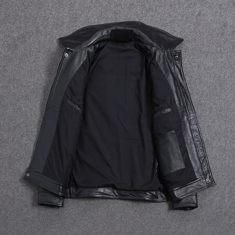 Hefcf75368adc44e383b2e856fab0c890O AYUNSUE Vintage Genuine Cow Leather Jacket Men Plus Size Cowhide Leather Coat Slim Short Jacket Veste Cuir Homme L-Z-14 YY1366