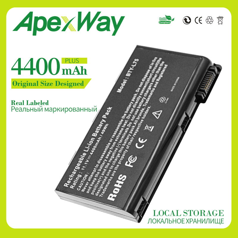 Apexway 4400mAh BTY-L74 Laptop Battery For MSI L74 L75 A5000 A6000 CX500 CX500DX CX705X CX623 EX460 EX610 CX700 CX620