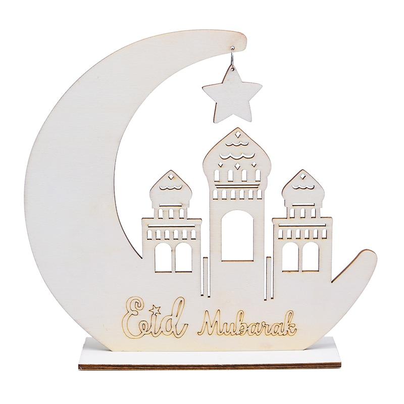 EID Mubarak Wooden Ornament DIY Star Moon Mosque Craft Happy EID Ramadan Home Decoration Candle Tray Muslim Islamic Party Favor