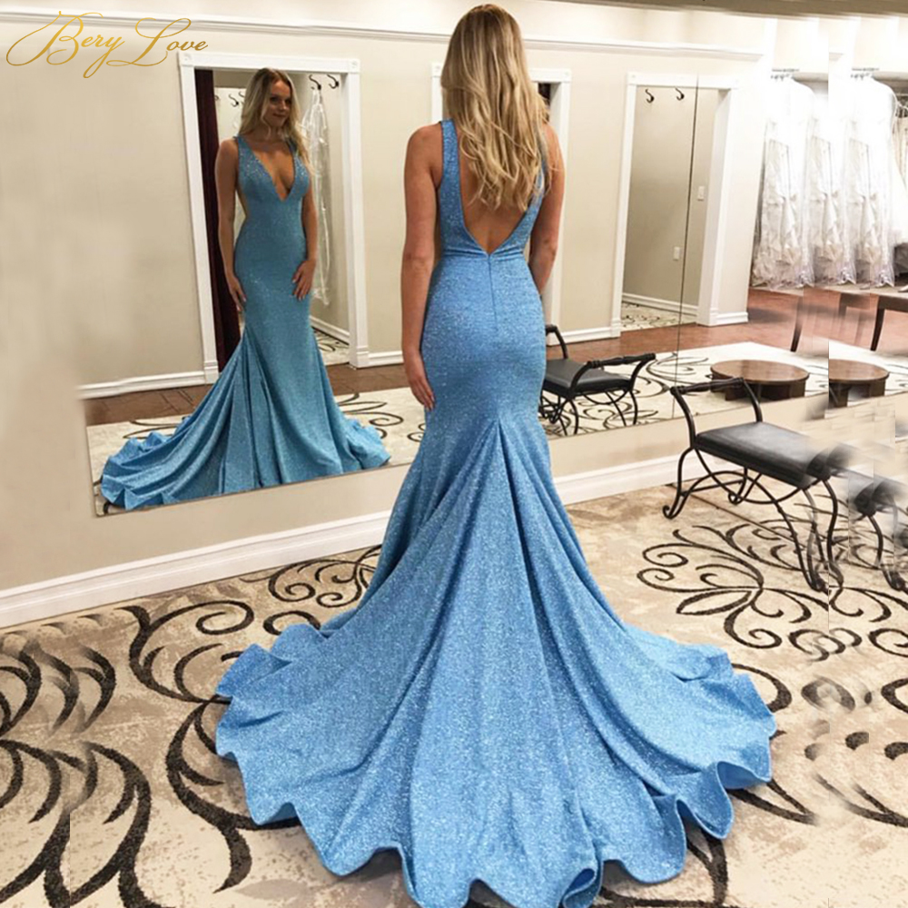 Matte Elastic Spandex Simple Evening Dress 2019 Long Train Sexy V Neck Open Back Fish Tail Light Blue Evening Gown Formal Dress