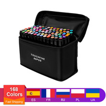 TouchFive Art Marker Set 30/40/80/168 Colors Alcohol Base Markers manga Sketch Drawing Marker Pen For Dual Headed Tip Pen