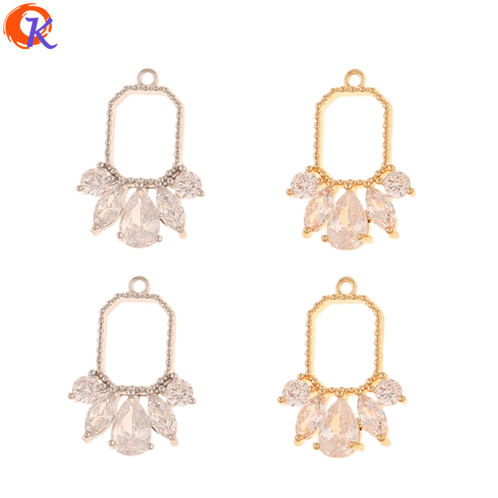 Cordial Design 30Pcs 13*18MM Jewelry Making/Earrings Connectors/Genuine Gold Plating/DIY CZ Charms/Hand Made/Earring Findings