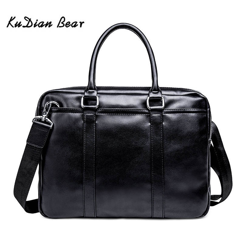 KUDIAN BEAR Fashion Simple Brand Business Men Briefcase Bag Leather Laptop Bag Casual Man Bag Fashion Shoulder Bags BIG010 PM49