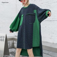 Plus Size Korea Plaid Dress Long Sleeve Women Korea Fashion Autumn New Casual Vestidos Overiszed Green Dresses LT432S30