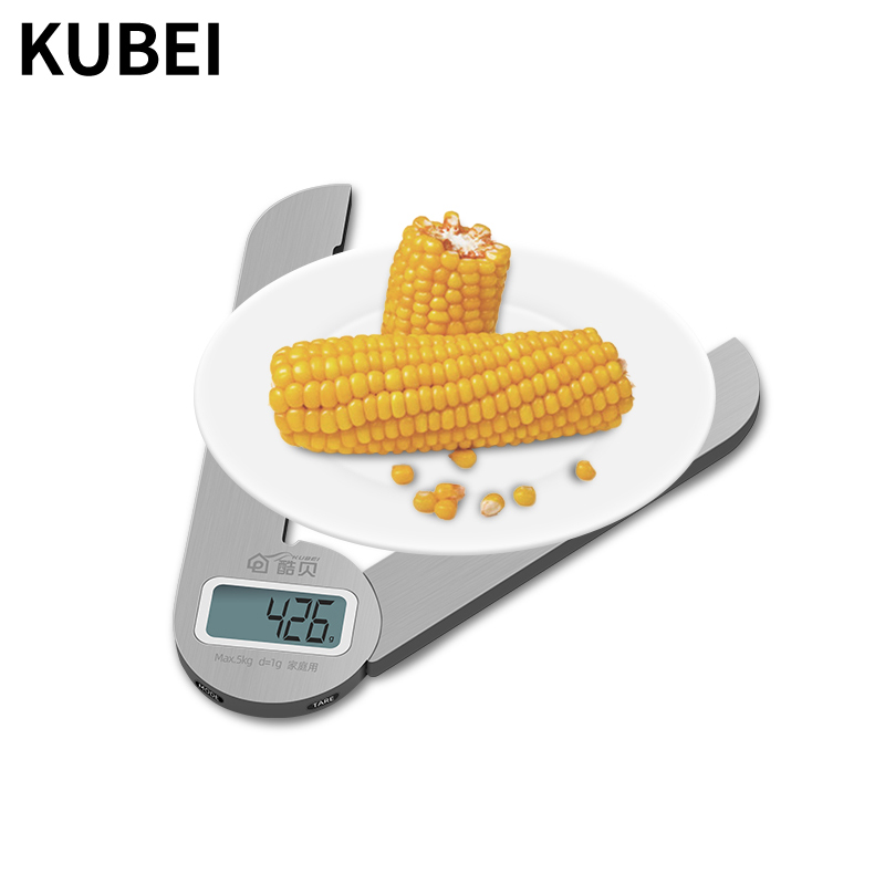 KUBEI 5kg/1g Large Kitchen Precision Scissors Scale Foldable Household Food Scale Portable Weighing Stainless Steel Scale