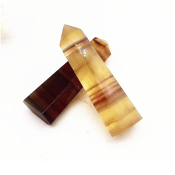 1PC natural yellow fluorite hexagonal crystal point healing stone mineral home decoration study