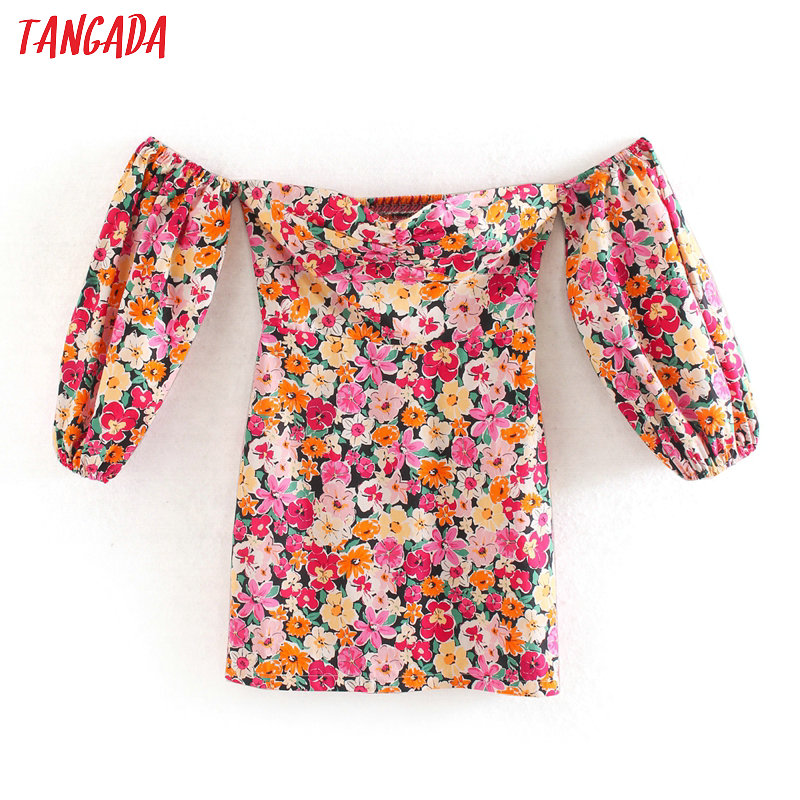 Tangada Fashion Women Floral Print Off Shoulder Dress 2020 Summer Half Sleeve Ladies Sexy Mini Dress Vestidos 5Z86