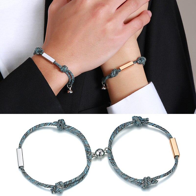 Magnetic Couple Bracelets Custom King Queen Braided Thread Braslet Love Forever Bracelet Valentines Gift  Friendship Jewelry