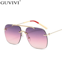 Pilot Vintage Sunglasses Women Square Rimless Sungl