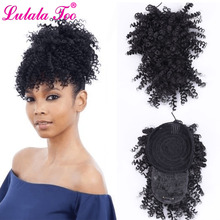 Drawstring Ponytail Hair-Extension Short Curly Afro Kinky Clip-In American Synthetic