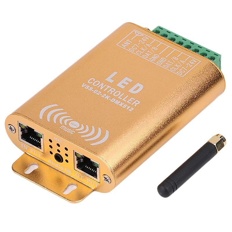 Controlador do spi da conexão de wifi, controlador endereçável de digitas do diodo emissor de luz do pixel 2048, controlador claro da tira da cor do sonho com micphone - 2