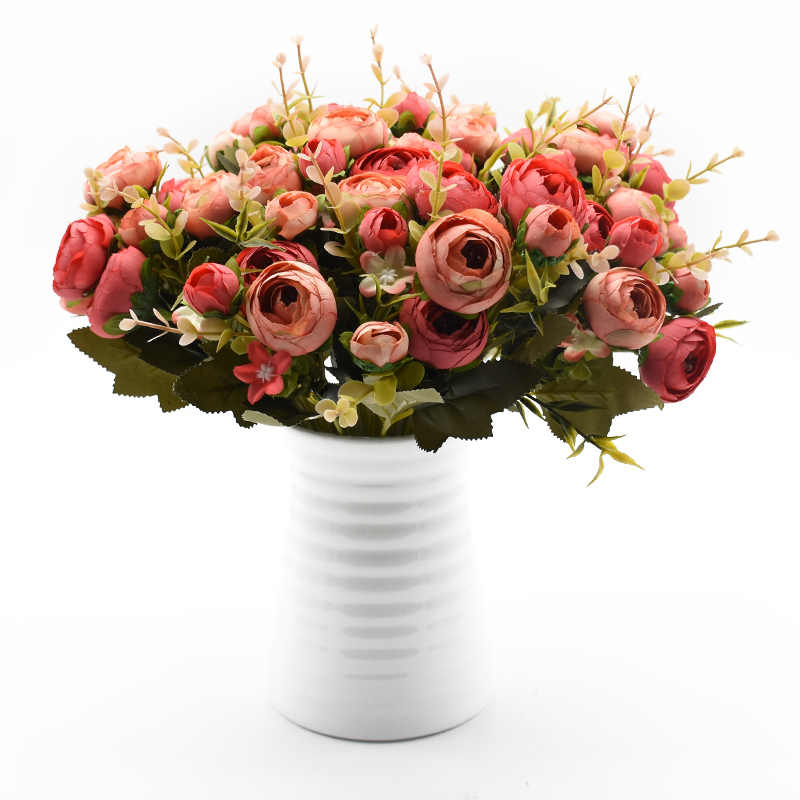 10 Kuntum/1 Bundle Sutra Teh Bunga Mawar Buket Pengantin untuk Pernikahan Rumah Natal Dekorasi Tahun Baru Palsu Buatan Tanaman bunga